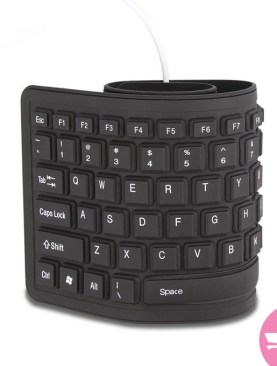 Flexible USB and PS/2 Silicone Gel Full-Sized Keyboard - Black.
