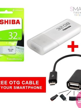High Speed Toshiba USB 32 GB Flash Disk Drive TransMemory Pen Drive Plus a Free Smartphone OTG Cable - Color may vary