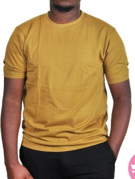 Round neck t-shirt with short sleeves-Brown.