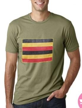 Ugandan flag t-shirt with short sleeves-Army Green.