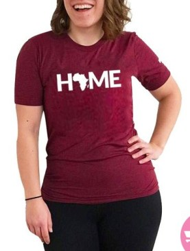 Africa is home round neck t-shirt-Maroon.