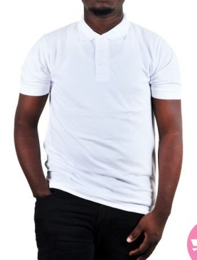 Polo neck t-shirt with short sleeves-White.