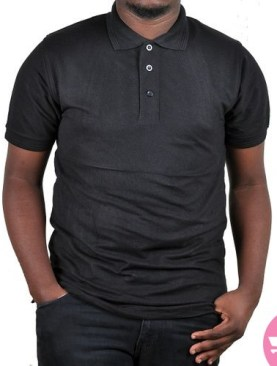 Polo neck t-shirt with short sleeves-Black.