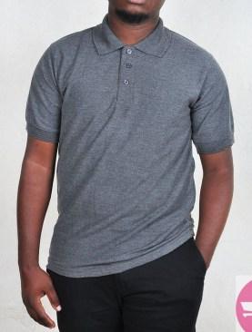 Short sleeved polo t-shirt-Grey.