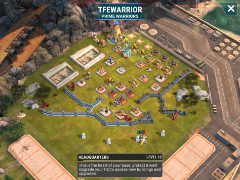 A weak level 12 base awaits us at the third base. This one has two weak beams, so they should be easy to one shot. The use of a strong Mixmaster on the beams or fliers will help you take care of this base. Also, skrapnel is another great utility to bring in for when the three bots swarm you.