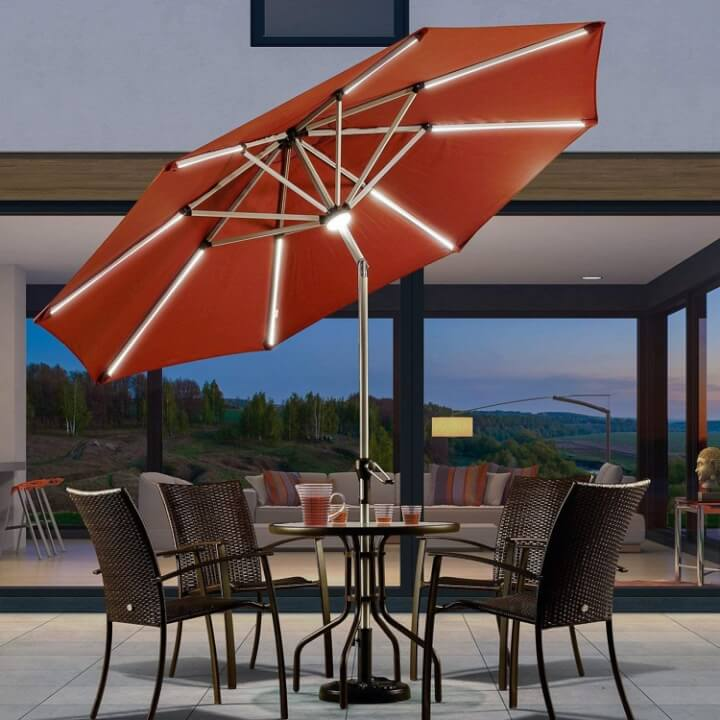 solar powered patio umbrella with led