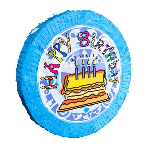 Pinata Happy Birthday blå