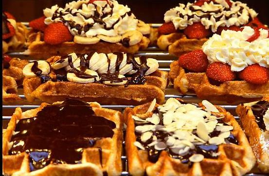 Belgian waffles as seen in a Brussels shop on a Sunday afternoon