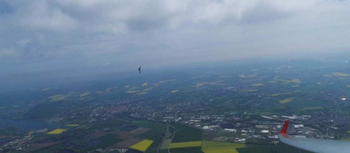 Segelflug Sontra Kurbeln mit Vogel