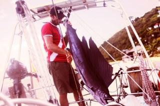 Alex hat einen 1,85 Meter langen Segelfisch gefangen.  © sailingaroundtheglobe.blogspot.com