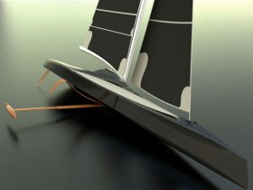 Wenn der Kiel in Luv aus dem Wasser geschwenkt wird, bremst er nicht. Das gebogene Profil soll in Lee unter Wasser für Auftrieb und Stabilität sorgen.  © Speed Dream