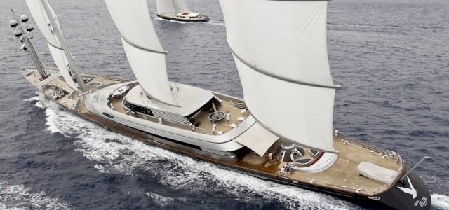 """Die mit 88-Metern bisher größte private Segelyacht """"Maltese Falcon""""  mit ihrem Dyna Rigg. © Perini Navi"""