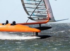 Sailrocket legte mit einem Passagier ihren bisher schnellsten Lauf hin.  © sailrocket