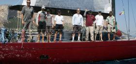 """Die """"Coral""""-Crew nach dem Auslaufen vor dem Palermo-Monte Carlo Rennen. © Rolex"""