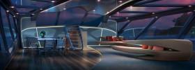 """Kein Weltraumbahnhof, sondern der Salon der 46 m Slup """"Exo"""" abends mit galaktischen Aussichten  © Dykstra/Claydon Reeves"""
