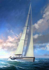 """240 Tonnen, knapp 9 m breit am Wind: die 46 m Slup """"Exo"""". © Dykstra/Claydon Reeves"""