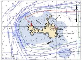 Route der LSC. Auffallend: ein weiteres Schiff (grün) ist problemlos über die Untiefe gekommen©US Coast Guard