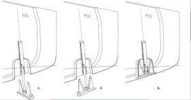 Bei der Brenta-Version wird der Anker beim Bergen (Skizze 1) wie in Skizze 2 gedreht und verschwindet (Skizze 3) in seiner Tasche.  © Luca Brenta & C.