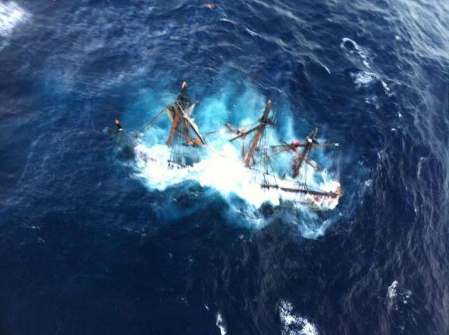 "Die gekenterte ""Bounty"" kurz vor dem Untergang. © Coastguard"