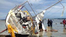 42 Fußer mit Drogen und Leiche an Bord gestrandet vor Tonga. © Australian Federal Police