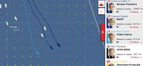 Die Vendée Globe Situation 26.11. Jean Pierre Dick greift mit einem Schlenker im Süden an.