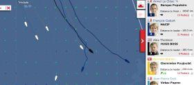 Vendée Globe Situation am 27.11.2012. Armel Le Cléac'h zieht weiter nach Osten, während die härtesten Gegner nach Süden gehalst sind.
