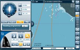 Mittendrin in der Flaute vor dem Äquator. Die Spitze der Flotte segelt rechts unter Afrika.