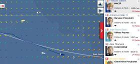 Die Situation bei der Vendée Globe am 13.12. Das Spitzenduo setzt sich ab, Jean-Pierre Dick wird von der Flaute eingesogen und Bernhard Stamm (gelb) reiht sich mit einem Schlenker nach Norden klar hinter Alex Thomsen ein.