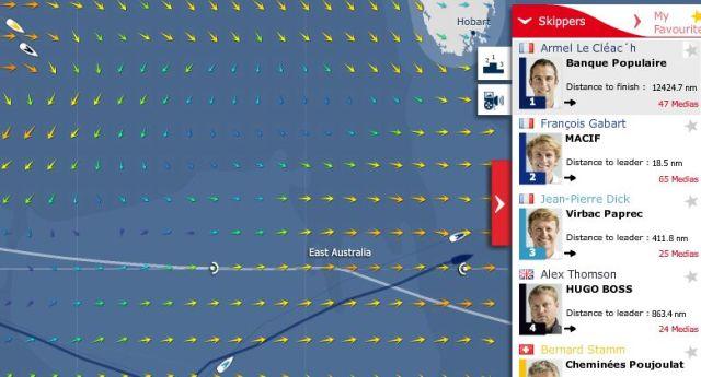 Vendée Globe am 18.12. Le Cléac'h hat die Führung übernommen, weil Gabart nordwärts auf eine Starkwindzone zuhält.