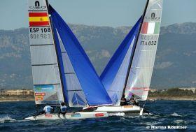 49er Olympiasieger und ISAF Weltsegler des Jahres Iker Martinez muss auf Platz 22 noch Lehgeld zahlen.