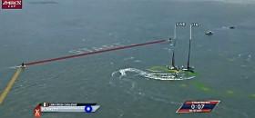 In der Live Übertragung leuchtet kurz der Penalty für Luna Rossa auf, ist dann aber wieder verschwunden.