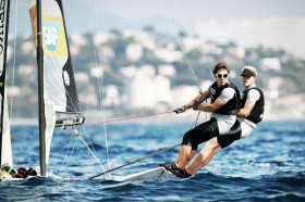 Favoriten im Pech: Erik Heil und Thomas Plößel © International 49er Class Association