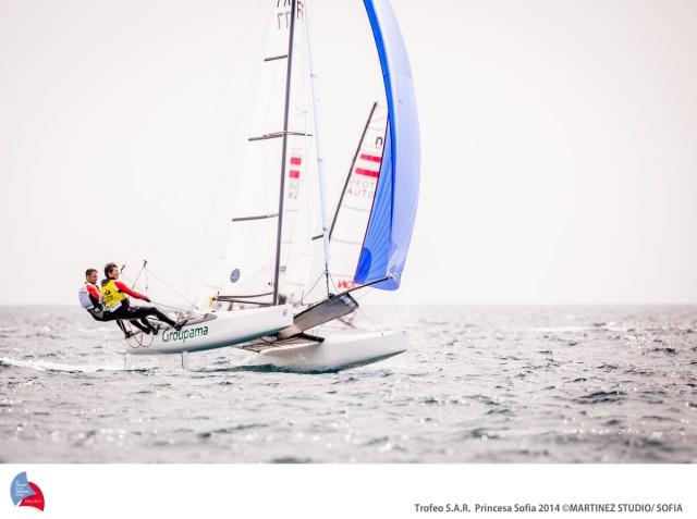 Franck Cammas segelt mit Laserseglerin Sophie de Turckheim immer noch vorneweg. © 2014 Martinez Studio/ 45 TROFEO PRINCESA SOFIA