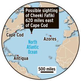 "Position des Fundortes der ""Rafiki"" © US-Coastguard"
