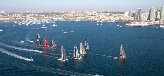 Spektakulär ist anders. 2011 fand vor San Diego ein AC 45 Rennen der America's Cup World Series statt. © ACEA
