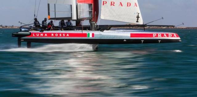 """Die genauen Geschwindigkeiten """"über den Erwartungen"""" veriet Skipper Max Sirena zwar nicht, aber sie dürfte jenseits der 30 Knoten gelegen haben.  © Carlo Borlenghi / Luna Rossa"""