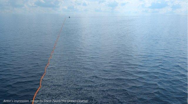 Die Barrieren sollen über Dutzende Kilometer hinweg im Ozean Plastik auffangen © oceancleanup