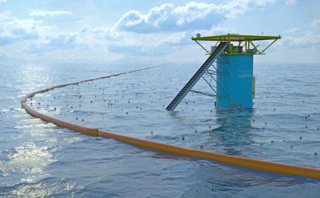 So in etwa soll die OceanCleanUp-Station auf hoher See später einmal aussehen © oceanCleanUp
