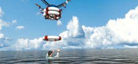 Animation: Die Drohne wirft Rettungsringe.