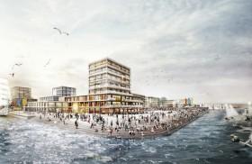 Der potentielle Olympiastandort Kiel-Holtenau vom Wasser aus betrachtet.  Visualisierung: Monokrom, Hamburg