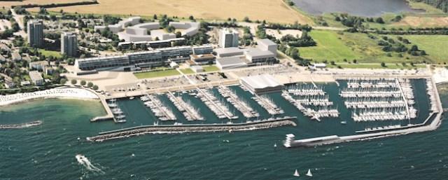 So sähe der Olympiastandort Kiel-Schilksee 2024 aus der Luft aus.  Visualisierung: Duplex Architekten, Hamburg