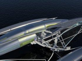 Mit Fresnel-Linseln und holografischen Folien in den Schwimmern werden die Sonnenstrahlen gebündelt zu den Solar-Panels im Segel reflektiert © Margot Krasojevic