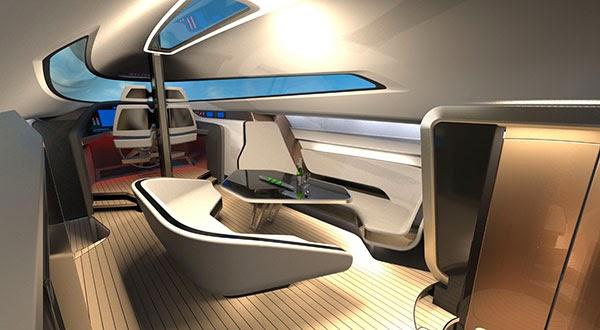 Spannender Lichteinfall auf futuristische Inneneinrichtung © speeddream