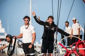 Charles Caudrelier jubelt über seinen vielleicht wichtigsten Sieg. © Victor Fraile/Volvo Ocean Race