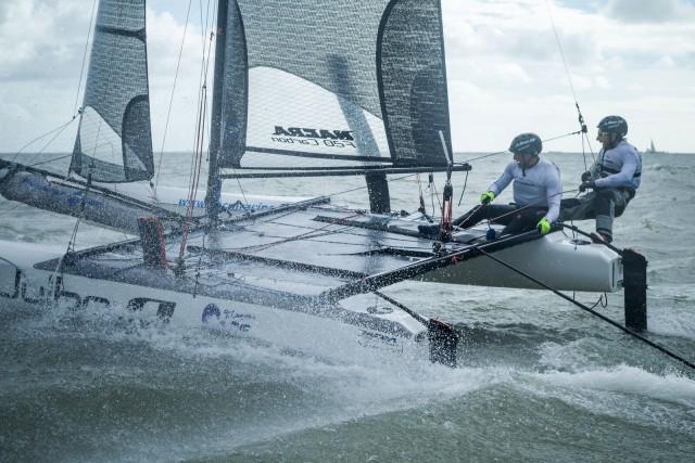 Wiebel auf dem Nacra 20 Foiler, mit dem er zum Kap Hoorn segelt. ©Jérémy Bernard