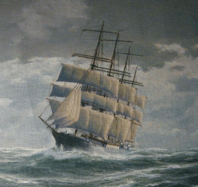 """""""Peking"""" auf einem alten Gemälde mit verändertem Rigg. © Seaport South Museum"""