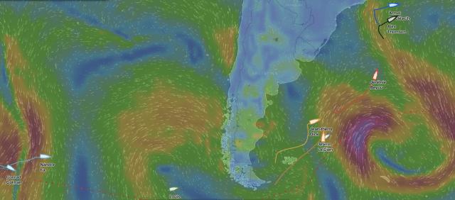 Das Führungsduo rast nach Osten, um den frischen Süd-Ost zu erreichen. Thomson kann einen höheren Winkel steuern.