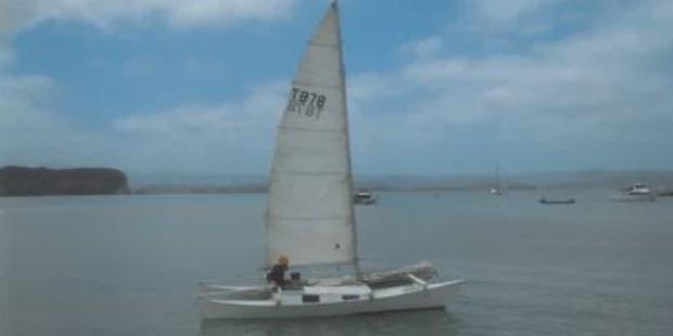 Der selbst gebaute Katamaran, mit dem Langdon die 120 Meilen nach Australien segelte.