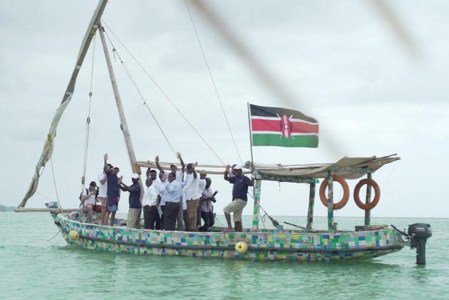 Die Dhau Flipflopi in Mombasa in Kenia