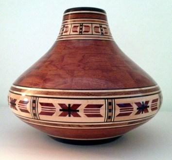 "Bubinga Vase - 8.5"" tall by 9.5""; diameter Bubingia, Maple, Bloodwood, Wedge and Sapele"
